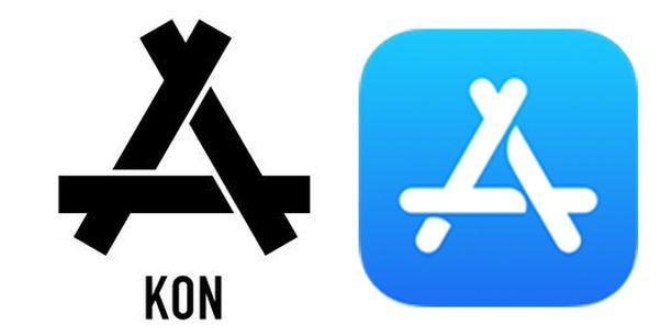 Vasemmalla Konin logo ja oikealla App Storen.
