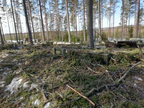 Leppävirran seurakunnan hautausmailla on kaadettu runsaasti puita.