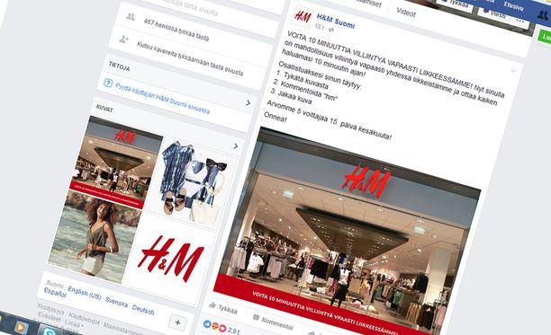H&M:n nimissä esiintyvä valearvonta leviää Facebookissa.