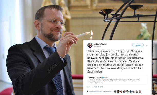 Piispa Jari Jolkkonen pahoittelee harkitsematonta tviittiään.