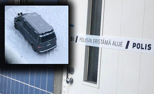 Silminnäkijä havaitsi tekopaikalla tutkijoiden pakettiauton. Poliisiteippi merkkasi epäiltyä rikospaikkaa.