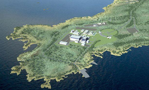 Havainnekuva ydinvoimalasta.