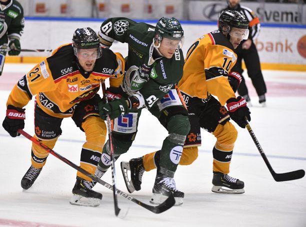 Juhani Tyrväisen (vasemmalla) edustama Luulaja on varmistanut SHL:n runkosarjan voiton.