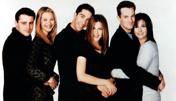 """""""Frendit"""" Matt Le Blanc, Lisa Kudrow, David Schwimmer, Jennifer Aniston, Matthew Perry ja Courtney Cox arkistokuvassa."""