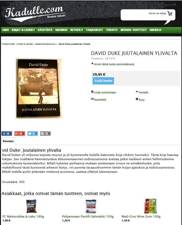 David Duken Juutalainen ylivalta -kirjan ostaneet ovat ostaneet Suomen vastarintaliikkeen verkkokaupasta myös makeisia.