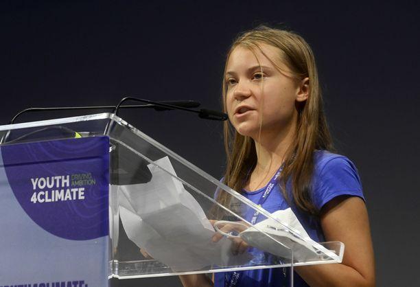 Ilmastoaktivisti Greta Thunberg puhui nuorten ilmastokokouksessa tiistaina.