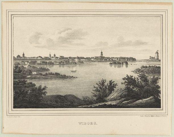 Pehr Adolf Kruskopfin piirros Viipurista. Kuva on piirretty 1840-luvun lopulla tai 1850-luvun alussa.