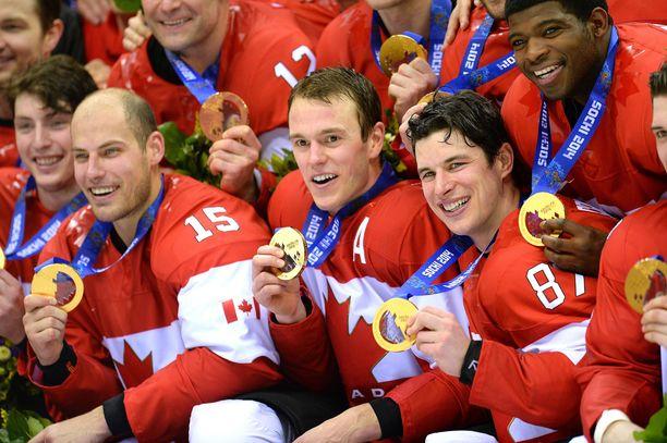 Kanada voitti olympiakultaa Sothissa vuonna 2014. Tuolloin mukana olivat muun muassa Sidney Crosby ja Jonathan Toews.