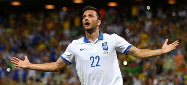 Andreas Samaris vei Kreikan 1-0-johtoon.