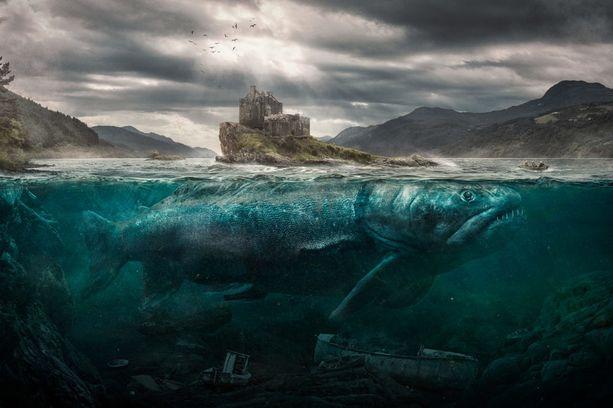 Loch Ness Salmon kisaa kuvituskuva / digitaalinen taide -sarjassa.