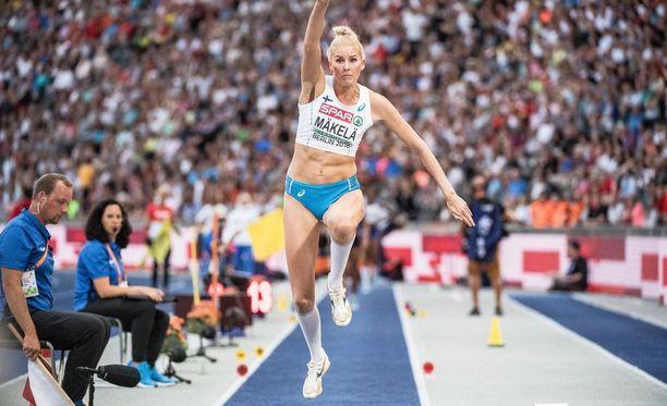 Kristiina Mäkelä oli loikkafinaalin yhdeksäs tuloksella 14,01.