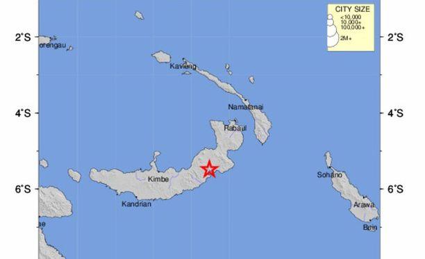 USGS:n julkaisema kuva Papua-Uuden-Guinean alueelta, jossa tapahtui voimakas maanjäristys.