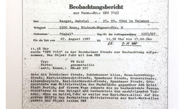 Ote Stasin arkiston seurantaraportista.