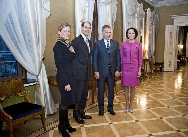 Kreivitär Sophie ja prinssi Edward kävivät presidentti Sauli Niinistön ja rouva Jenni Haukion vieraina helmikuussa 2015.