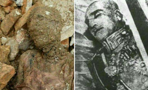 Vasemmalla muumio, oikealla Reza Pahlavin ruumis ennen balsamointia. Hyvällä tahdolla niitä voi pitää yhdennäköisinä.