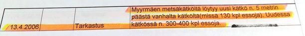 Poliisin salaisen seurantaraportin merkinnät paljastavat, mitä huumekätköllä tapahtui.