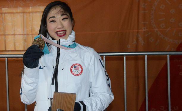 Colorado Avalanchen entinen jäätyttö Mirai Nagasu ilmoitsi joukkuekisan pronssistaan.