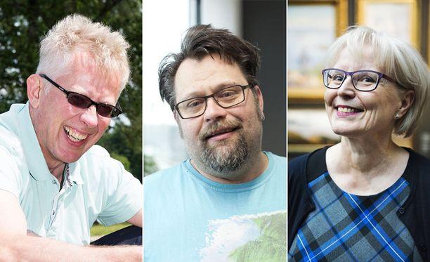 Pekka Pouta (vas.), Petri Takala ja Seija Paasonen ovat televisiosta tuttuja meteorologeja.