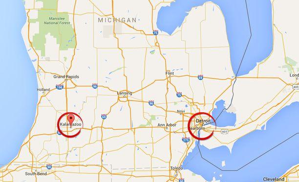 Kalamazoo sijaitsee noin 200 kilometrin päässä Detroitista.