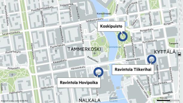 Pahoinpitely ja ryöstö tapahtuivat todennäköisesti Koskipuistossa. Sitä ennen 24-vuotias mies oli ravintola Tiikerihaissa ja ravintola Hovipojassa.