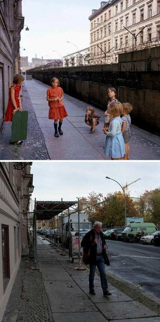 Lapset leikkivät piikkilanka-aitojen vieressä Sebastianstrassella vuonna 1968. Nyt ei muuri enää halkaise katua.