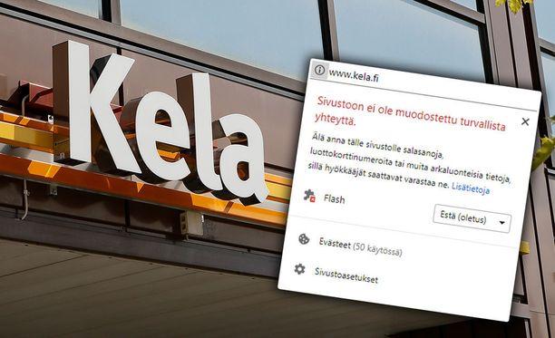 Chrome-selain varoittaa jo nyt antamasta tietoja Kela.fi-sivustolle.
