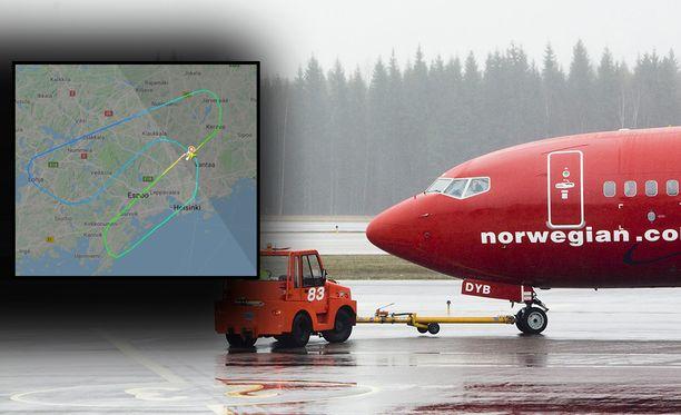 Flightradar24:n reittikartta näyttää, miten lentokone kääntyi Lohjan yläpuolella takaisin Helsinkiin. Taustalla kuvituskuva.