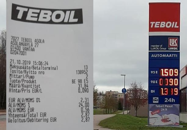 Muutamalla eurolla sai peräti 30 litraa bensaa.