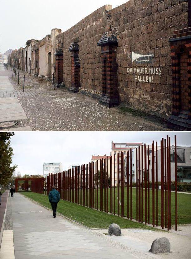 """""""Muurin pitää kaatua"""" lukee vuoden 1973 kuvassa Bernauer Strassella. Nykyisin paikalla sijaitsee muistomerkki muurille."""