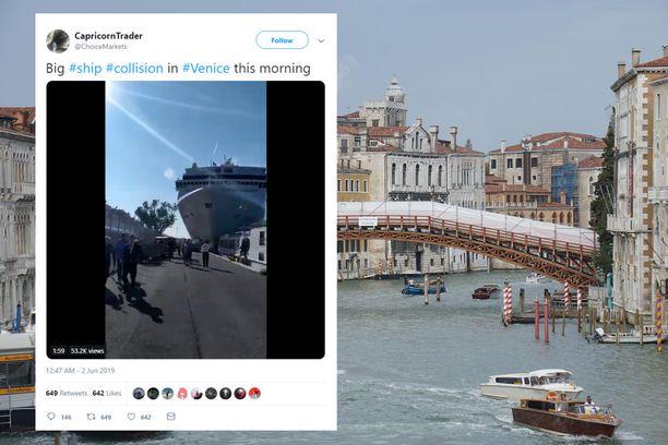 Risteilyalus rysäytti vauhdilla laituriin Venetsiassa.