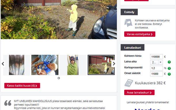 Huhtaniemi lisäsi myynti-ilmoituksen Etuovi.comiin maanantaina illalla. Myöhemmin sivusto poisti epäsopivaksi katsomansa ilmoituksen.