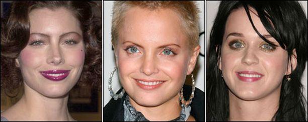 Jessica Biel, Mena Suvari ja Katy Perry huonona hiuspäivänä.