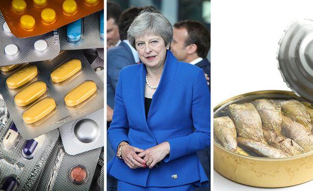 Theresa Mayn hallitus varautuu brexit-aikaan säilykkeiden ja lääkkeiden varastoimisella.
