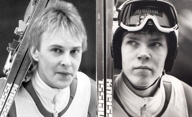 Matti Nykänen ja Risto Laakkonen edustivat Suomea Lahdessa 1989, kun Suomi voitti joukkuemäen MM-kultaa.
