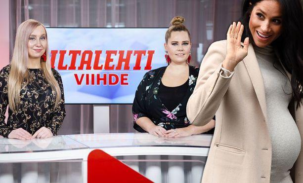 Viihdeviikko-ohjelman juontajat Jasmin Huusela (vas.) ja Anna Hopi vääntävät kättä siitä, onko herttuatar Meghan kiipijä.