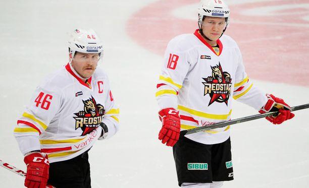 Janne Jalasvaara (46) ja Tuukka Mäntylä vastasivat Red Starin maaleista Jokereita vastaan.