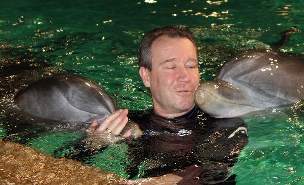 Kouluttaja ja delfiinit yhdessä altaassa.