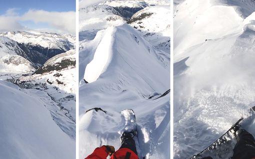 Lautailija laski kapeaa harjannetta pitkin Sveitsissä – katso taitoa vaativa suoritus videolta