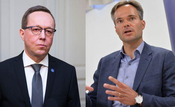Elinkeinoministeri Mika Lintilä (kesk) ja ulkomaankauppa- ja kehitysministeri Kai Mykkänen (kok).