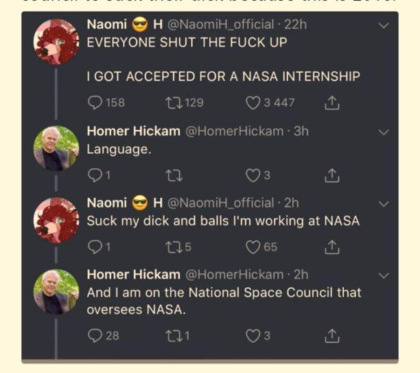 Naomi H:n ja Homer Hickamin keskustelu poistettiin Twitteristä, mutta se on tallessa useina näyttökaappauksina ympäri sosiaalista mediaa.
