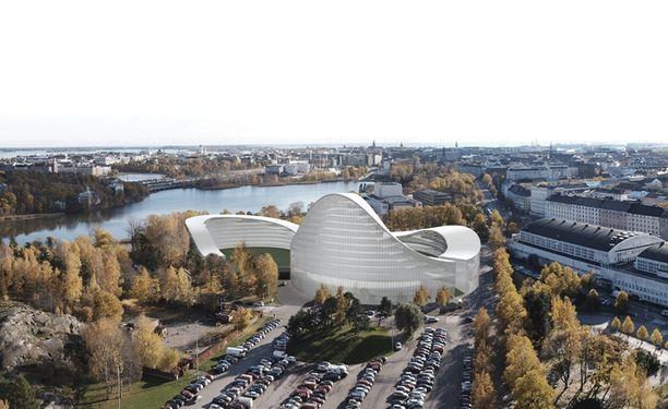 Panoramakuva suunnitellusta Helsinki Gardenista.