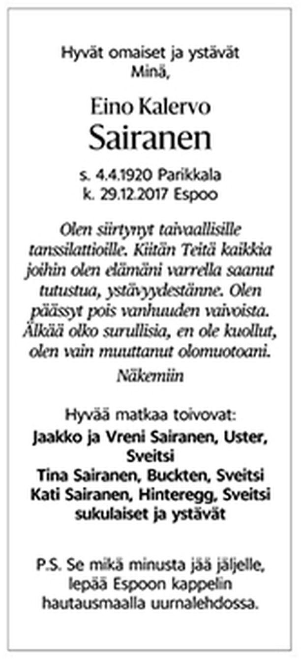 Eino Kalervo Sairasen kuolinilmoitus.