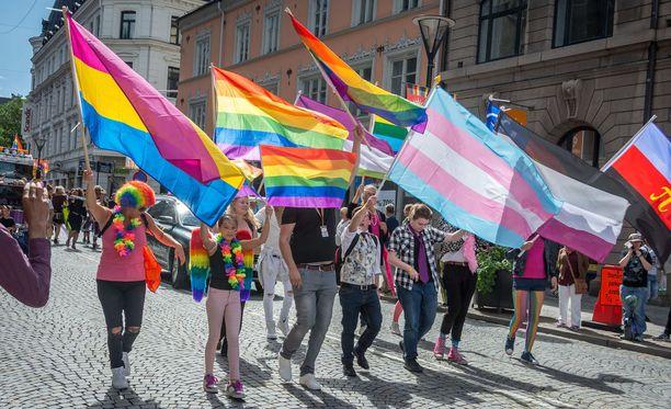Pride-kulkue marssii Helsingin läpi lauantaina. Kuvituskuva.