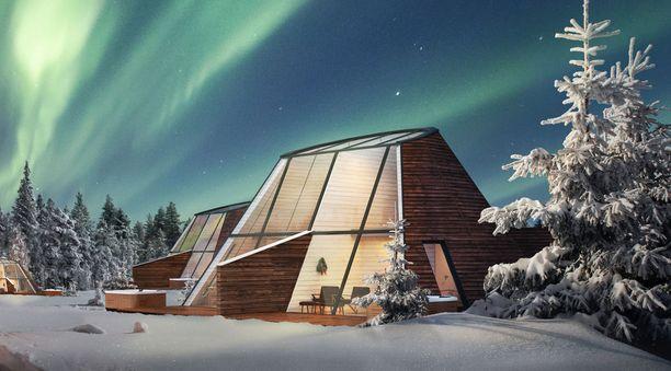 Napapiirillä toimivan Snowman World Hotelin kauden uutuus ovat nämä lasiseinäiset kodat. Niiden terasseilla on pore-altaat.