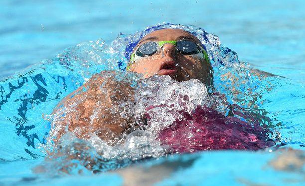 Mimosa Jallow oli 50 metrin selkäuinnin alkuerien kolmanneksi nopein.