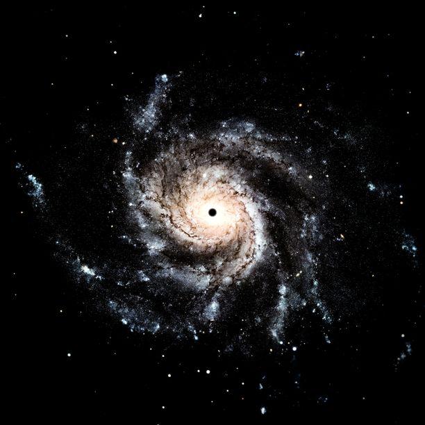 Musta aukko on nimeltään J2157. Kuvituskuva.