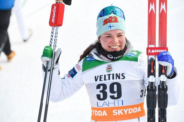 Krista Pärmäkoski oli kolmas lauantaina Lahdessa.