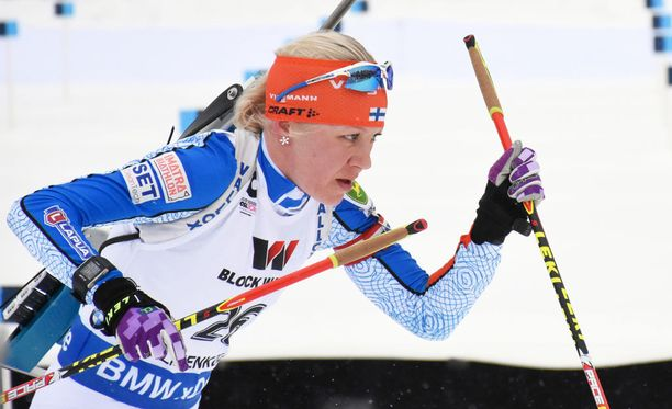Kaisa Mäkäräinen otti Kontiolahden kisan tosissaan.