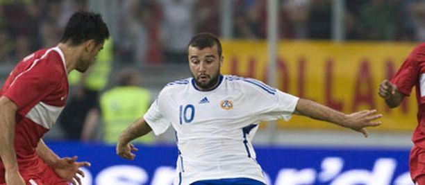 Alexei Eremenko Jr. esiintyi Suomen paidassa Turkkia vastaan pelatussa ottelussa 29.5.2008.