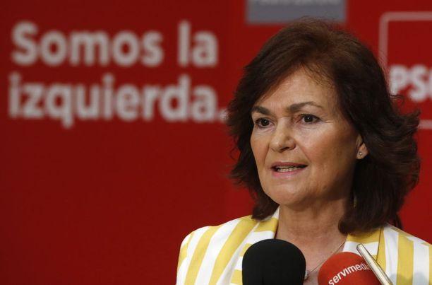 Carmen Calvo nousi näkyväksi hahmoksi Katalonian itsenäisyystaistelun aikaan.